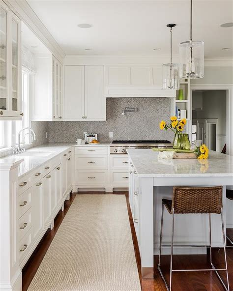 grey marble herringbone backsplash transitional kitchen