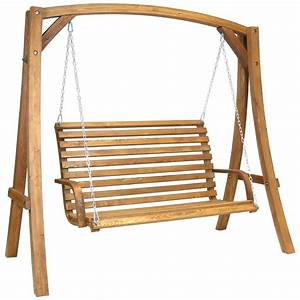 Wooden garden swing curved seat buydirect4u for Wooden garden swing chair