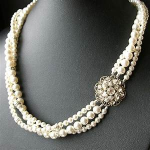 Bridal pearl necklace statement wedding necklace twisted for Wedding ring necklace