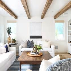 Living Room with White Faux Wood Ceiling Beams