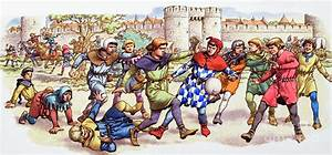 Football In The Middle Ages Painting by Pat Nicolle