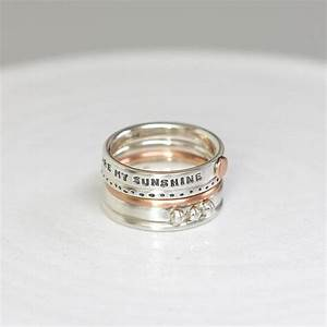 personalised stacking rings with rose gold by notes With personalised wedding rings