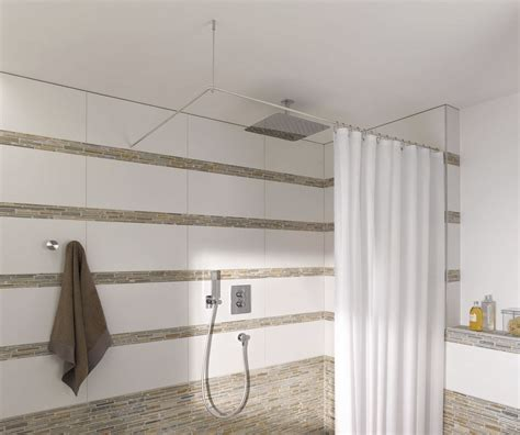 l shaped shower curtain rod with ceiling support and