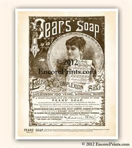 shabby chic bathroom decor pears soap ad vintage art print