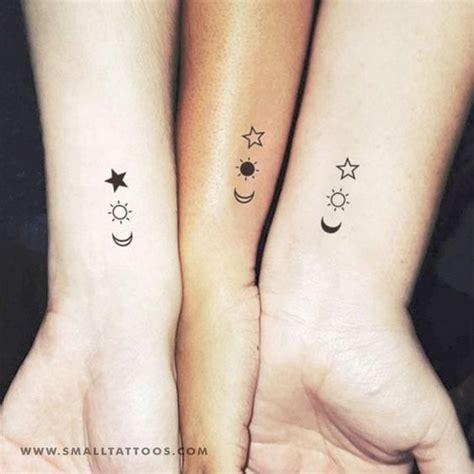 matching crescent sun  star temporary tattoo set