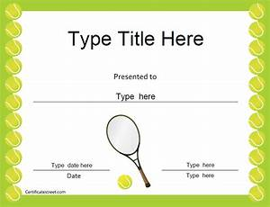 Sports certificates tennis award certificate for Tennis gift certificate template