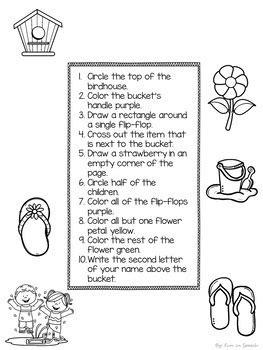 summer  directions worksheets print  speech