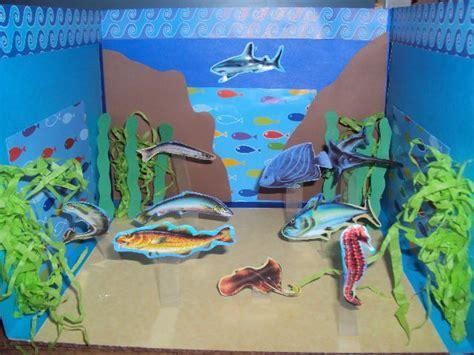 maqueta escolar en papel ecosistema marino cosas
