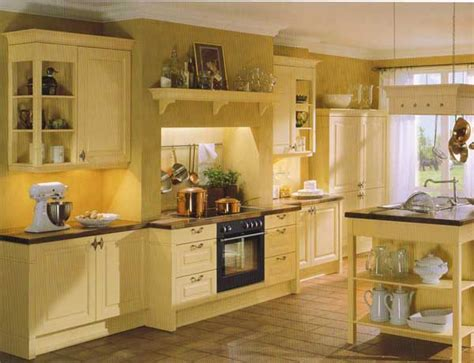 Yellow And White Country Kitchen