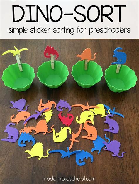 dinosaur theme preschool activities dinosaur sticker sorting for preschoolers 114