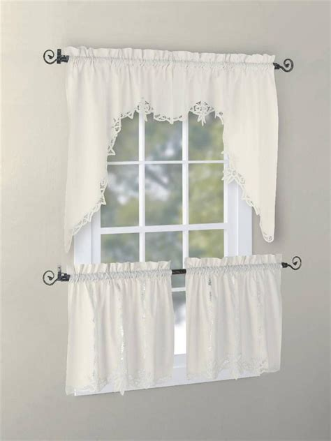 Battenburg Lace Curtains Ecru by Vintage Battenburg Kitchen Curtain Valance Swag Tier White