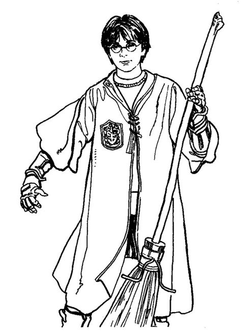 Quidditch Player Harry Potter with Firebolt Coloring Page