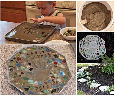 diy cement stepping with handprints