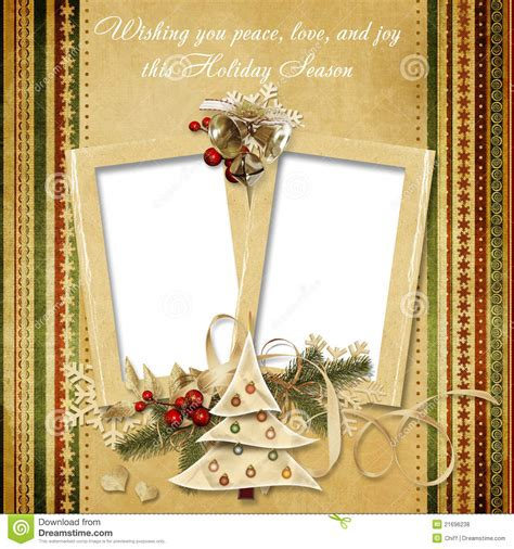 christmas vintage greeting frame   wishes stock
