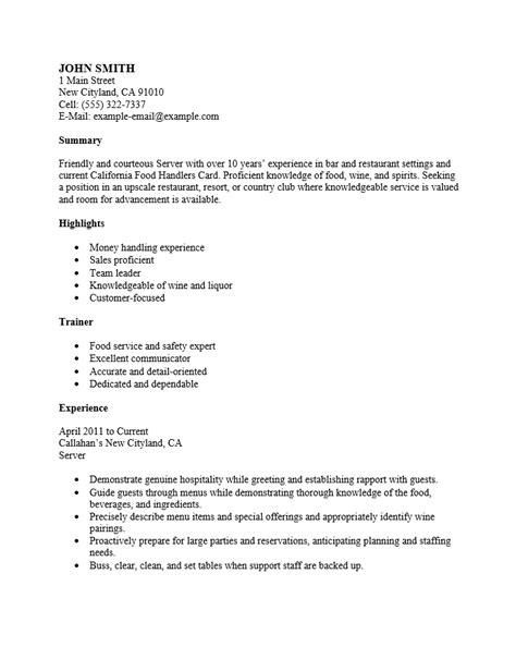 Restaurant Server Resume Template by Free Restaurant Server Resume Template Sle Ms Word