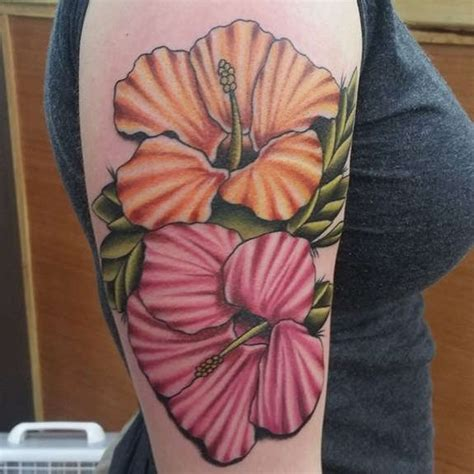 black grey  colorful hibiscus tattoos