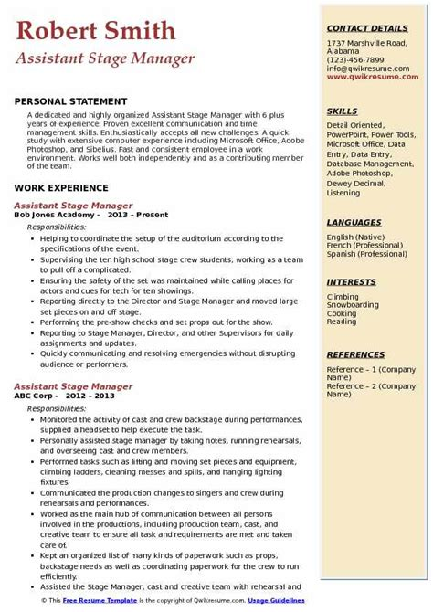 Stage Manager Resume by Assistant Stage Manager Resume Sles Qwikresume