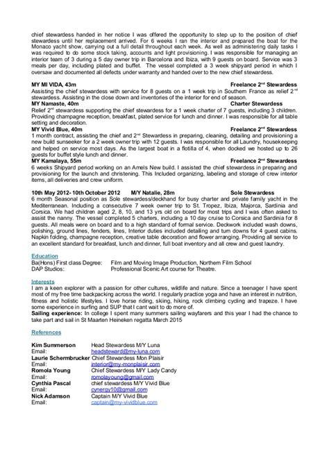 Yacht Stewardess Resume Sle by Hazeldfearnley Cv May 2015
