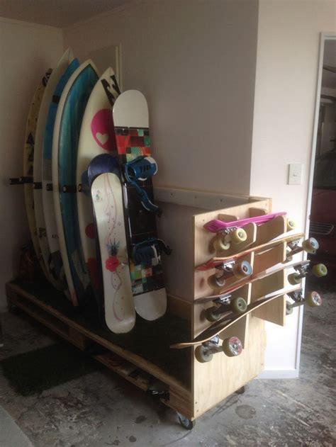 diy surfboard snowboard skateboard storage stand