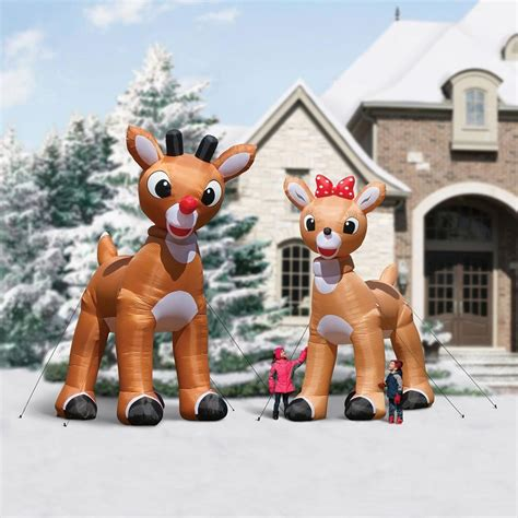 enormous inflatable rudolph  red nosed reindeer