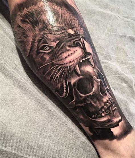 lion head skull tattoo inkstylemag inkstylemag