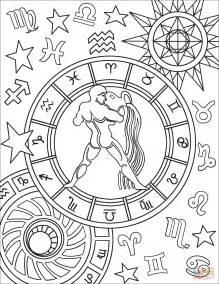 aquarius zodiac sign coloring page  printable