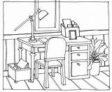 Drawing Table Chairs Desk Perspective Chair Line Drawings Office Hand Desks Sitting Cartoon Interior Getdrawings Thinking Colouring Point sketch template
