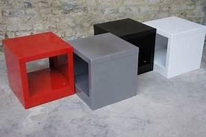 Table De Chevet Rouge : table d 39 appoint blanche bout de canap design cube m tal ~ Preciouscoupons.com Idées de Décoration