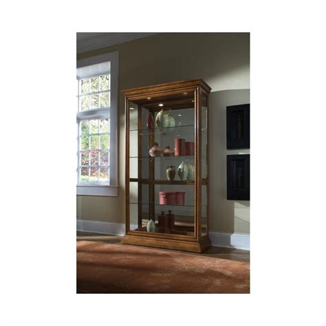 Pulaski Curio Cabinet Sliding Door by Pulaski 2 Way Sliding Door Curio Cabinet In Golden Oak 20544