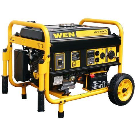 electrical watt wen 4750 watt generator with electric start 56475 the home depot