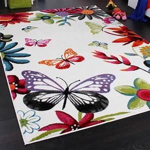 Tapis Chambre D Enfant : tapis chambre d 39 enfant papillons multicolore cr me rouge orange vert bleu tous les produits ~ Teatrodelosmanantiales.com Idées de Décoration