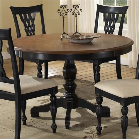black round pedestal dining table hillsdale embassy round pedestal dining table in rubbed