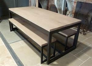 Table Salon Industriel : table de salon en bois et m tal et bancs bca mat riaux ~ Melissatoandfro.com Idées de Décoration