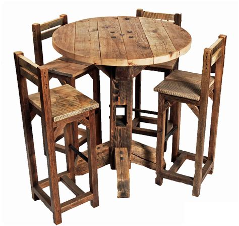 pub table and two chairs furniture old rustic small high round top kitchen table