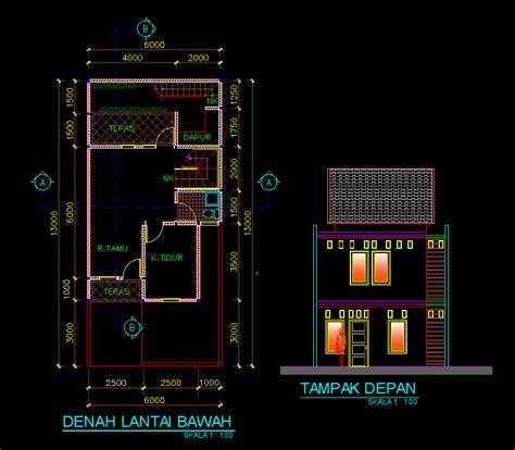 gambar autocad desain rumah sederhana  lantai
