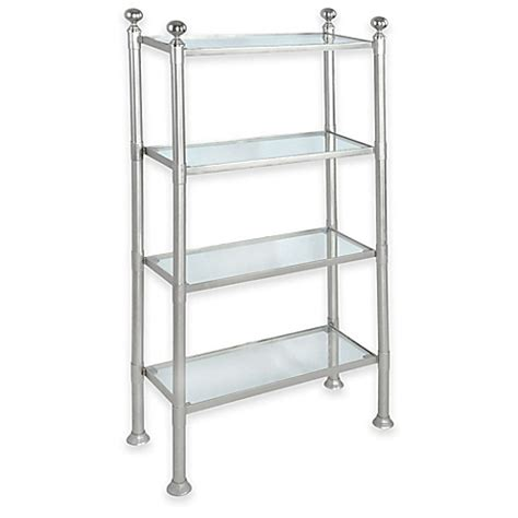 bed bath and beyond bathroom shelving unit 4 shelf large steel and glass storage unit in pewter bed