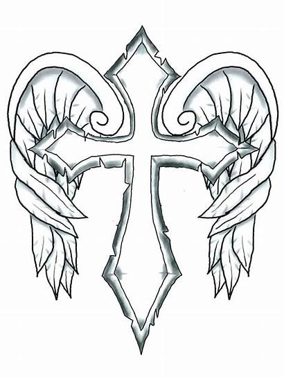 Coloring Pages Wings Cross Heart Hearts Fire