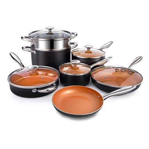 pans copper cookware pots nonstick michelangelo ceramic titanium non stick pot piece coating induction sets oven safe ultra steel kitchen