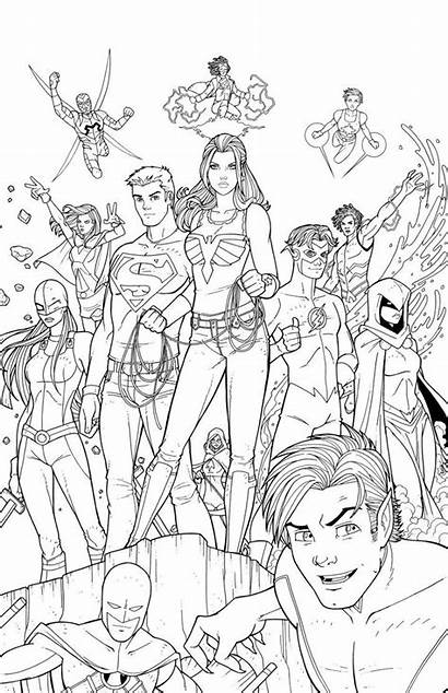 Titans Teen Coloring Pages Lineart Deviantart Dc