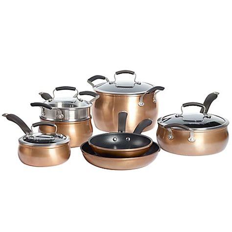 epicurious aluminum nonstick  piece cookware set  copper wwwbedbathandbeyondcom