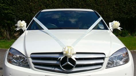 ivory wedding car decoration kit large bows 7 metres of ribbon fast freepost ebay