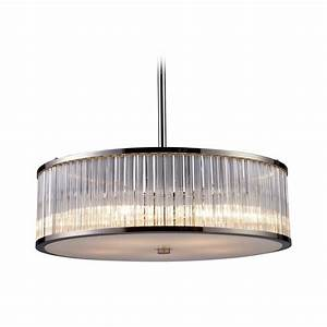 Modern drum pendant light with clear glass in polished