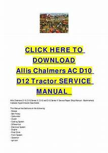 Allis Chalmers Ac D10 D12 Tractor Service Manual By Cycle