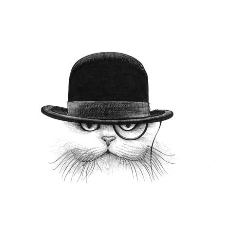 Cat in Hat Down Intricate Ink Print   Rory Dobner