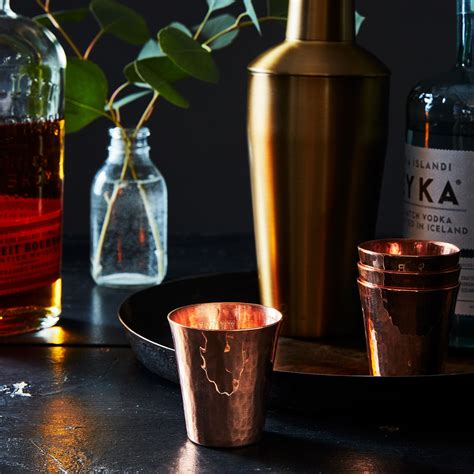 hammered copper shot cups set    food