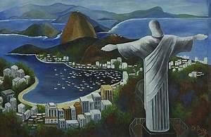 Rio de Janeiro Landscape Painting in Blue Tonalities