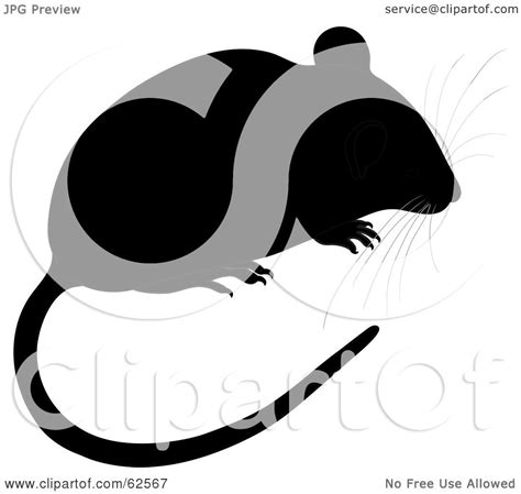 royalty free rf clipart illustration of a black mouse with a and whiskers by