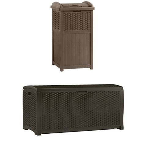 Suncast Resin Wicker Deck Box 122 Gallon by Suncast 120 Gallon Large Wood And Resin Deck Box