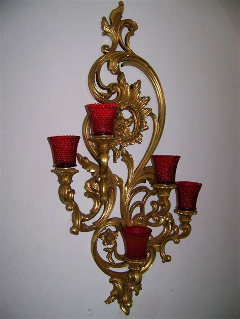 3365 gold wall candle holders vtg large 35 quot dart homco home interior syroco gold 5 arm