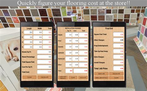 vinyl flooring calculator flooring job bid calculator android apps on google play